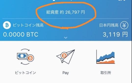 20万円をこえた仮想通貨の資産