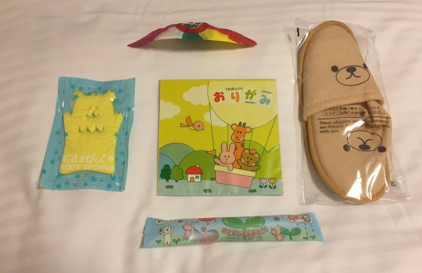 リッチモンドホテル浜松の部屋にあった子供向けのアメニティの写真