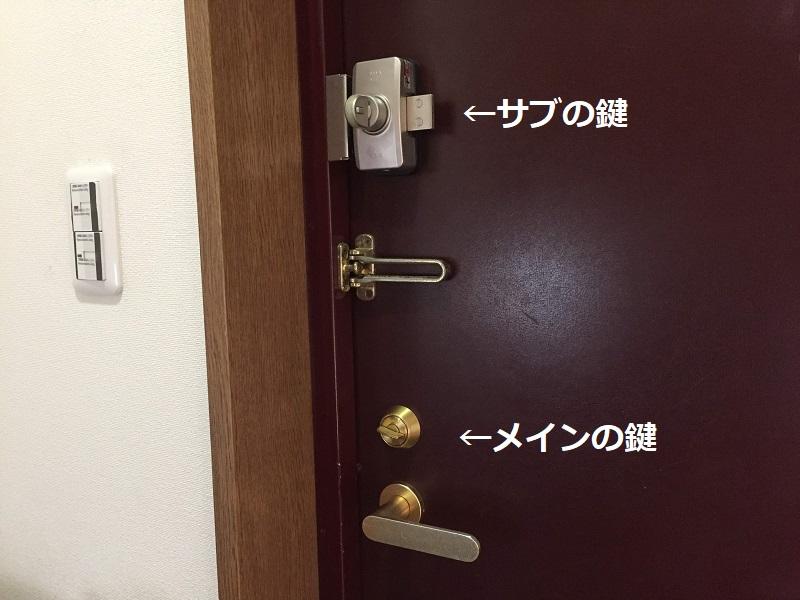 玄関の鍵が2ヶ所付いている写真