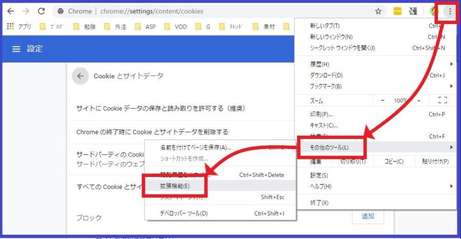 GoogleChromeの拡張機能の位置の確認